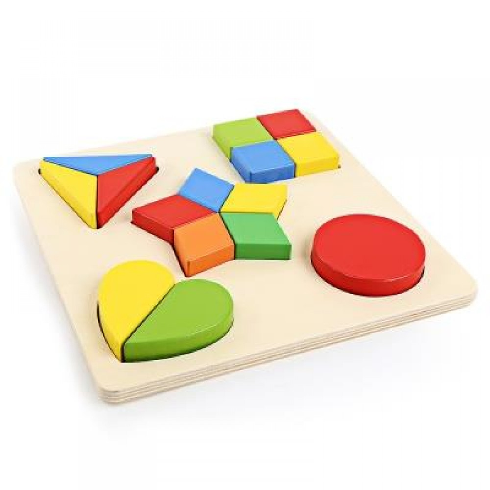 3D WOODEN BUILDING BLOCK DIY MATCHING GEOMETRY PUZZLE TOY (COLORFUL) PATTERN B