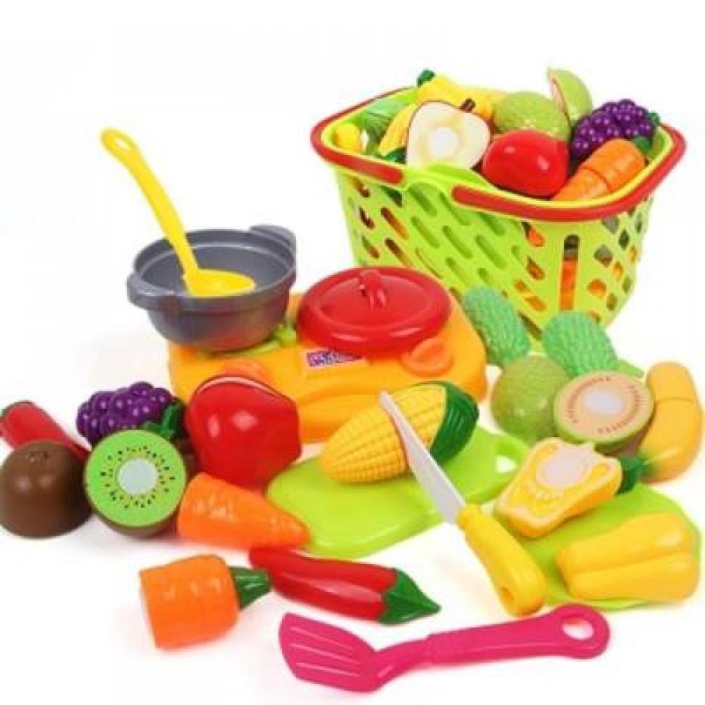 EARLY CHILDHOOD EDUCATION BIG BASKET FRUITS VEGETABLES TOY (COLORMIX) 0