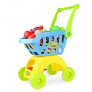 image of MINI SUPERMARKET SIMULATION SHOPPING TROLLEY PRETEND PLAY TOY SET WITH FRUIT VEGETABLE FOR CHILDREN (BLUE) -