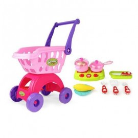 image of SUPERMARKET SHOPPING CART WITH KITCHENWARE ABS PRETEND PLAY TOYS FOR KIDS (PINK) -