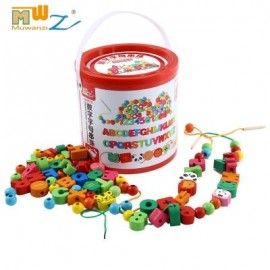 image of MUWANZI WOODEN DESKTOP BEADED TOYS EDUCATIONAL GAME (COLORMIX) LETTER