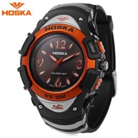 image of HOSKA H804B CHILDREN QUARTZ WATCH 5ATM MULTI-COLORED BACKLIGHT WRISTWATCH (ORANGE) 0