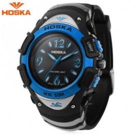 image of HOSKA H804B CHILDREN QUARTZ WATCH 5ATM MULTI-COLORED BACKLIGHT WRISTWATCH (BLUE) 0