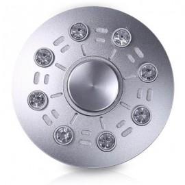 image of FAUX DIAMOND UFO SAUCER SHAPE FIDGET METAL SPINNER (SILVER) -