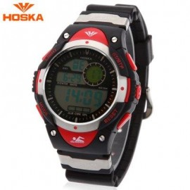 image of HOSKA H013B CHILDREN LED DIGITAL WATCH DATE DAY ALARM DISPLAY 5ATM SPORTS WRISTWATCH (RED) 0