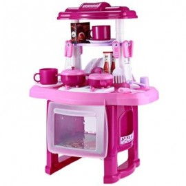 image of KIDS SIMULATION KITCHEN COOKWARE PRETEND ROLE PLAY TOY WITH MUSIC LIGHT (PINK) -