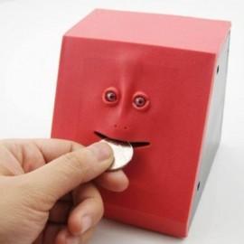 image of CUTE SENSOR SAVING COIN MONEY FACE BANK (RED) 0