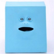 image of CUTE SENSOR SAVING COIN MONEY FACE BANK (BLUE) 0