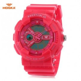image of HOSKA HD016B DIGITAL QUARTZ CHILDREN SPORT WATCH 3ATM STOPWATCH ALARM DATE DAY LED WRISTWATCH (WATERMELON RED) 0