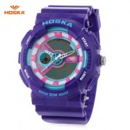 image of HOSKA HD016B DIGITAL QUARTZ CHILDREN SPORT WATCH 3ATM STOPWATCH ALARM DATE DAY LED WRISTWATCH (PINK AND PURPLE) 0