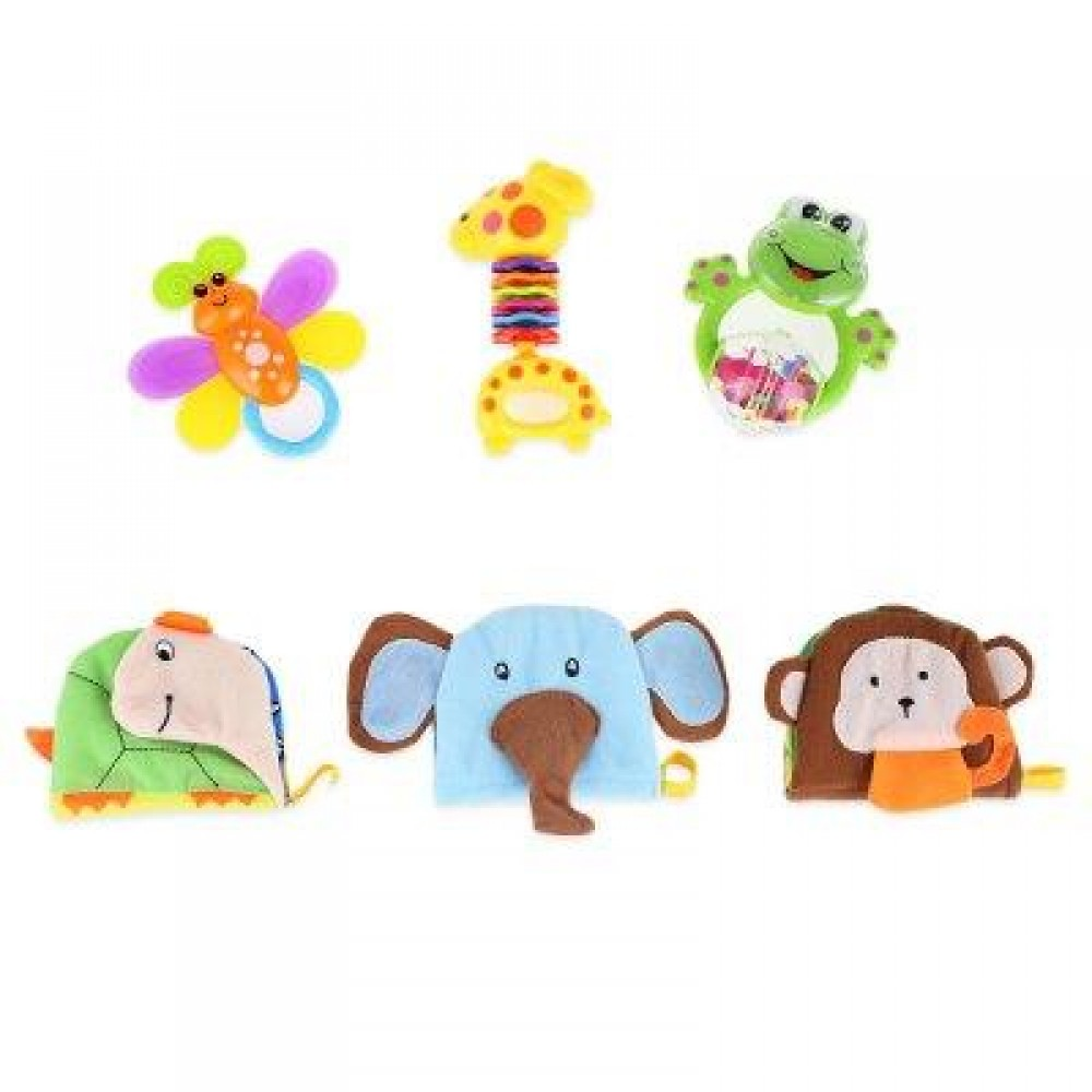 BABY CLOTH BOOK HAND BELL RATTLE EDUCATIONAL TOY (COLORMIX) -
