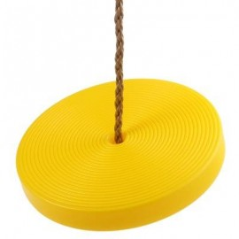 image of KIDS PLASTIC DISC SWING HANGING SEAT OUTDOOR TOYS PLAYGROUND FITNESS GAME (YELLOW) -
