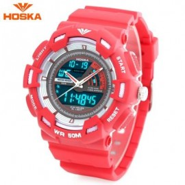 image of HOSKA HD030B CHILDREN QUARTZ DIGITAL WATCH LED CALENDAR CHRONOGRAPH ALARM WRISTWATCH (RED) 0