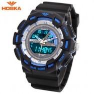 image of HOSKA HD030B CHILDREN QUARTZ DIGITAL WATCH LED CALENDAR CHRONOGRAPH ALARM WRISTWATCH (BLUE AND BLACK) 0