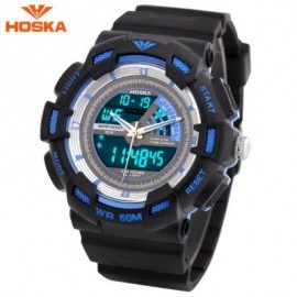 image of HOSKA HD030B CHILDREN QUARTZ DIGITAL WATCH LED CALENDAR CHRONOGRAPH ALARM WRISTWATCH (BLUE AND BLACK) 0