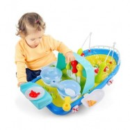 image of 2 IN 1 FISHING / COOKING SHIP PRETEND PLAY TOY WITH LIGHT / MUSIC FOR KIDS (COLORMIX) 0