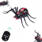 INFRARED REMOTE CONTROL REALISTIC MOCK FAKE SPIDER RC TOY PRANK INSECTS JOKE SCARY TRICK BUGS FOR PARTY (BLACK AND RED) 0