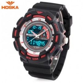 image of HOSKA HD030B CHILDREN QUARTZ DIGITAL WATCH LED CALENDAR CHRONOGRAPH ALARM WRISTWATCH (RED WITH BLACK) 0