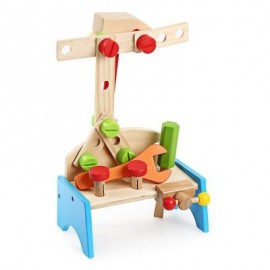 image of YOULEBI WOODEN TOOL TABLE SET KIDS EARLY EDUCATIONAL TOY (COLORMIX) -