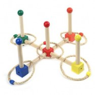 image of KIDS WOODEN CAST RING LAYER UP THROWING GAME SPORTS TOY (COLORMIX) -