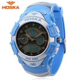 image of HOSKA HD014B DUAL MOVT CHILDREN SPORT QUARTZ DIGITAL WATCH LUMINOUS DAY CHRONOGRAPH DISPLAY 5ATM WRISTWATCH (BLUE) 0