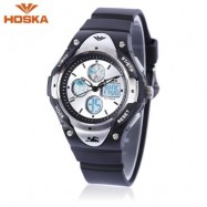 image of HOSKA HD024S DUAL MOVT CHILDREN QUARTZ DIGITAL WATCH LUMINOUS DAY ALARM DISPLAY 5ATM WRISTWATCH (BLACK) 0