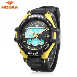 image of HOSKA HD027B CHILDREN DUAL MOVT WATCH DATE DAY DISPLAY BACKLIGHT STOPWATCH ALARM 5ATM WRISTWATCH (YELLOW) 0