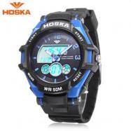 image of HOSKA HD027B CHILDREN DUAL MOVT WATCH DATE DAY DISPLAY BACKLIGHT STOPWATCH ALARM 5ATM WRISTWATCH (BLUE) 0