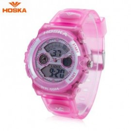 image of HOSKA HD006B DUAL MOVT CHILDREN SPORT QUARTZ WATCH WATER RESISTANCE CHRONOGRAPH DAY ALARM DISPLAY LED DIGITAL WRISTWATCH (PINK) 0