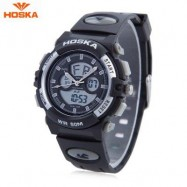 image of HOSKA HD005S DUAL MOVT CHILDREN SPORT QUARTZ WATCH WATER RESISTANCE CHRONOGRAPH DATE DISPLAY LED DIGITAL WRISTWATCH (WHITE AND BLACK) 0