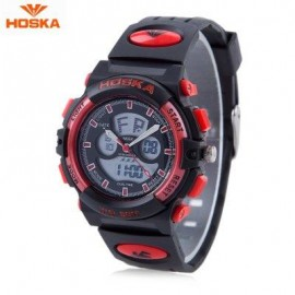 image of HOSKA HD005S DUAL MOVT CHILDREN SPORT QUARTZ WATCH WATER RESISTANCE CHRONOGRAPH DATE DISPLAY LED DIGITAL WRISTWATCH (RED WITH BLACK) 0