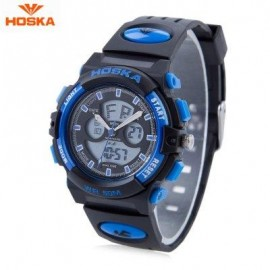 image of HOSKA HD005S DUAL MOVT CHILDREN SPORT QUARTZ WATCH WATER RESISTANCE CHRONOGRAPH DATE DISPLAY LED DIGITAL WRISTWATCH (BLUE AND BLACK) 0