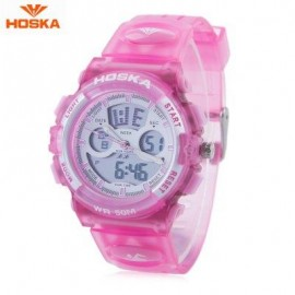 image of HOSKA HD005B DUAL MOVT CHILDREN SPORT QUARTZ WATCH WATER RESISTANCE CHRONOGRAPH DATE DISPLAY LED DIGITAL WRISTWATCH (PINK) 0