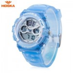 HOSKA HD005B DUAL MOVT CHILDREN SPORT QUARTZ WATCH WATER RESISTANCE CHRONOGRAPH DATE DISPLAY LED DIGITAL WRISTWATCH (BLUE) 0