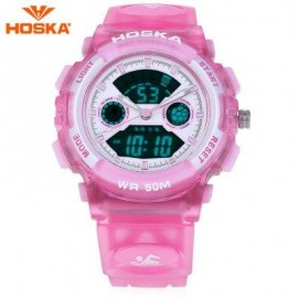 image of HOSKA HD006S MULTIFUNCTIONAL DUAL MOVEMENT CHILDREN SPORT WATCH STOPWATCH ALARM BACKLIGHT WEEK DISPLAY 50M WATER RESISTANCE LED WRISTWATCH (PINK) 0