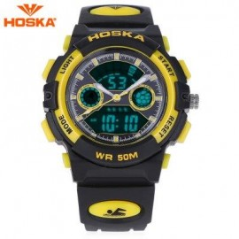 image of HOSKA HD006S MULTIFUNCTIONAL DUAL MOVEMENT CHILDREN SPORT WATCH STOPWATCH ALARM BACKLIGHT WEEK DISPLAY 50M WATER RESISTANCE LED WRISTWATCH (YELLOW AND BLACK) 0