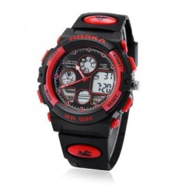 image of HOSKA H003B 5ATM DUAL MOVT CHILDREN SPORT WATCH CHRONOGRAPH CALENDAR ALARM BACKLIGHT WRISTWATCH (RED WITH BLACK) 0