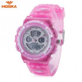 image of HOSKA HD005S DUAL MOVT CHILDREN SPORT QUARTZ WATCH WATER RESISTANCE CHRONOGRAPH DATE DISPLAY LED DIGITAL WRISTWATCH (PINK) 0
