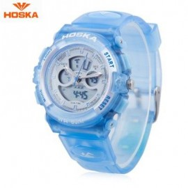 image of HOSKA HD005S DUAL MOVT CHILDREN SPORT QUARTZ WATCH WATER RESISTANCE CHRONOGRAPH DATE DISPLAY LED DIGITAL WRISTWATCH (BLUE) 0