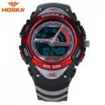 HOSKA HD011B DUAL MOVEMENT CHILDREN SPORT WATCH STOPWATCH CALENDAR ALARM BACKLIGHT 50M WATER RESISTANCE LED WRISTWATCH (RED WITH BLACK) 0