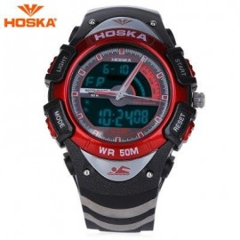 image of HOSKA HD011B DUAL MOVEMENT CHILDREN SPORT WATCH STOPWATCH CALENDAR ALARM BACKLIGHT 50M WATER RESISTANCE LED WRISTWATCH (RED WITH BLACK) 0