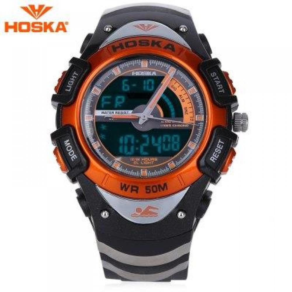 HOSKA HD011B DUAL MOVEMENT CHILDREN SPORT WATCH STOPWATCH CALENDAR ALARM BACKLIGHT 50M WATER RESISTANCE LED WRISTWATCH (BLACK AND ORANGE) 0