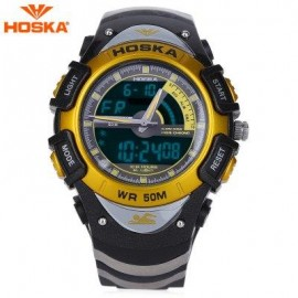 image of HOSKA HD011B DUAL MOVEMENT CHILDREN SPORT WATCH STOPWATCH CALENDAR ALARM BACKLIGHT 50M WATER RESISTANCE LED WRISTWATCH (BLACK AND GOLDEN) 0
