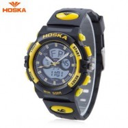 image of HOSKA HD005S DUAL MOVT CHILDREN SPORT QUARTZ WATCH WATER RESISTANCE CHRONOGRAPH DATE DISPLAY LED DIGITAL WRISTWATCH (YELLOW AND BLACK) 0