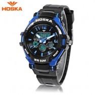 image of HOSKA HD028S CHILDREN DUAL MOVT WATCH CALENDAR 5ATM 24 HOUR DISPLAY LED DIGITAL WRISTWATCH (BLUE AND BLACK) 0