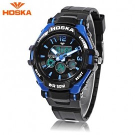 image of HOSKA HD028S CHILDREN DUAL MOVT WATCH CALENDAR 5ATM 24 HOUR DISPLAY LED DIGITAL WRISTWATCH (BLUE AND BLACK) 0