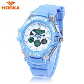 image of HOSKA HD028S CHILDREN DUAL MOVT WATCH CALENDAR 5ATM 24 HOUR DISPLAY LED DIGITAL WRISTWATCH (BLUE) 0