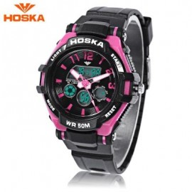 image of HOSKA HD028S CHILDREN DUAL MOVT WATCH CALENDAR 5ATM 24 HOUR DISPLAY LED DIGITAL WRISTWATCH (BLACK AND PURPLE) 0