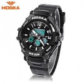 image of HOSKA HD028S CHILDREN DUAL MOVT WATCH CALENDAR 5ATM 24 HOUR DISPLAY LED DIGITAL WRISTWATCH (BLACK) 0