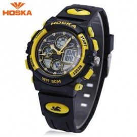 image of HOSKA H003S DIGITAL QUARTZ CHILDREN SPORT WATCH CHRONOGRAPH CALENDAR ALARM BACKLIGHT 5ATM WRISTWATCH (YELLOW AND BLACK) 0